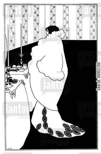 art nouveau cartoon humor: La Dame aux Camelias