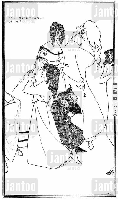 art nouveau cartoon humor: The Repentance of Mrs…