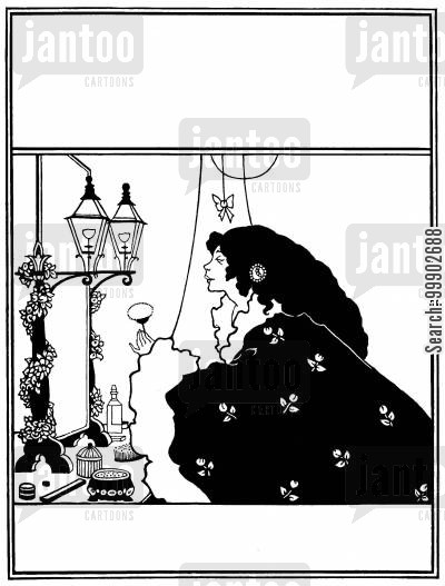 john lane cartoon humor: Cover Design for the Yellow Book, Vol 3- Street Lamps Lighting a Lady's Toilet Mirror