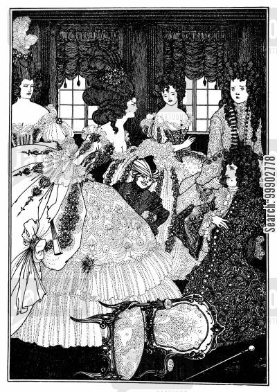 georgian drawing rooms cartoon humor: Rape of the Lock- The Battle of the Beaux and the Belles