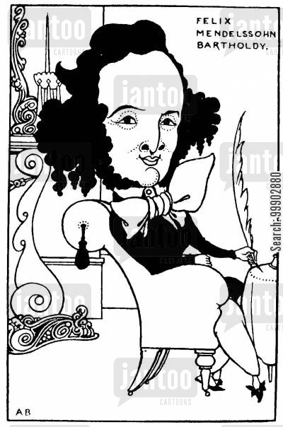 mendelssohn cartoon humor: Felix Mendelssohn - One of Series of Proposed Caricatures of Musicians
