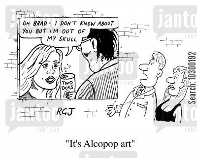 pop art cartoon humor: Alcopop Art
