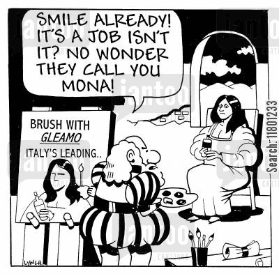 da vinci cartoon humor: No wonder they call you Mona!