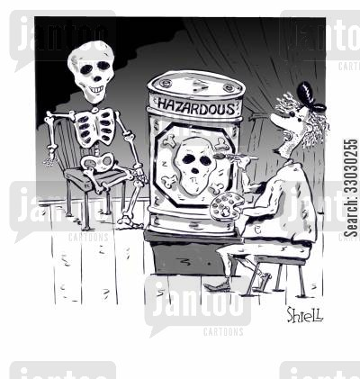 oil paint cartoon humor: Skeleton Portrait Painting