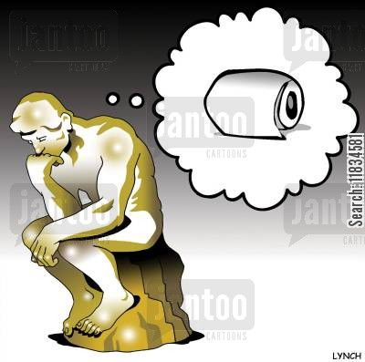 toilet papers cartoon humor: The Thinker Thinks of Toilet Roll.
