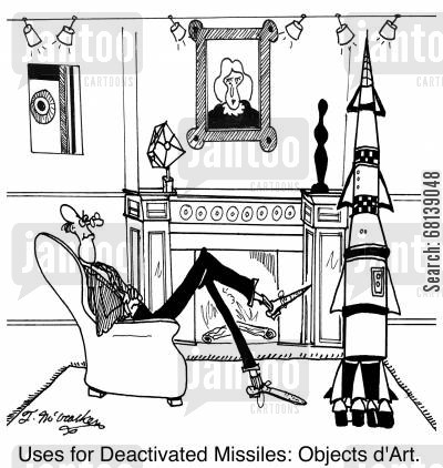 interior decorator cartoon humor: Uses for Deactivated Missiles: Objects d'Art