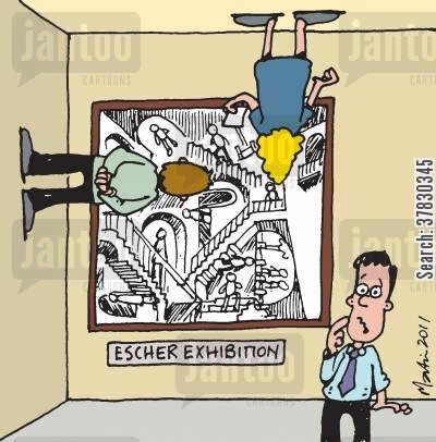 art exhibit cartoon humor: Escher Exhibition