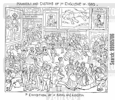 art academies cartoon humor: The Exhibition at the Royal Academy