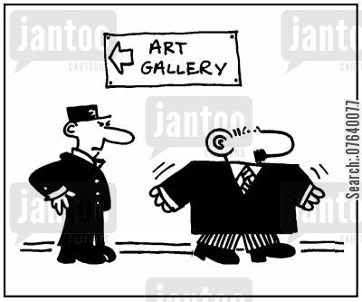 stolen goods cartoon humor: 'Art gallery.'