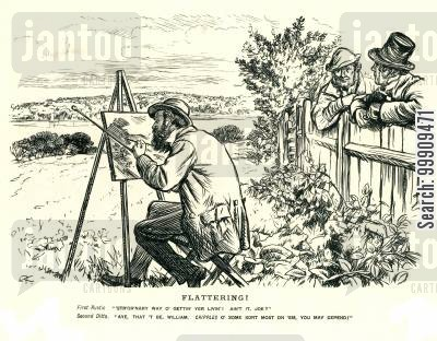view cartoon humor: A Painter Paints A Landscape Observed By Two Locals.
