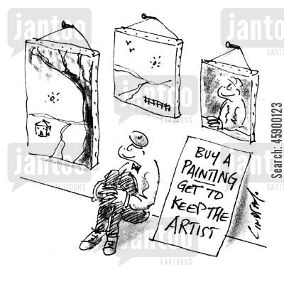 art shops cartoon humor: Buy a painting get to keep the artist.