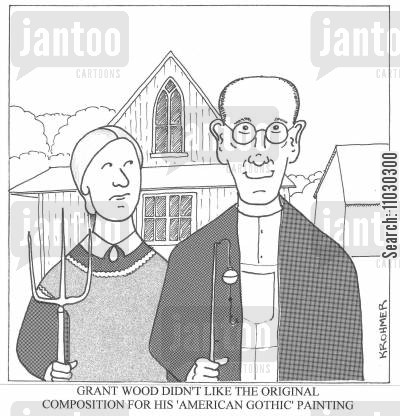 oil painting cartoon humor: Grant Wood didn't like the original composition for his 'American Gothic' painting.
