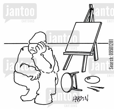 canvases cartoon humor: Artist having painted a featureless landscape.