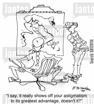 ophthalmologist cartoon humor: 'I say, it really shows off your astigmatism to its greatest advantage, doesn't it?'