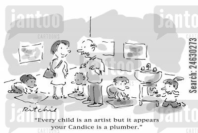future career cartoon humor: 'Every child is an artist but it appears your Candice is a plumber.'