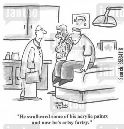 personality change cartoon humor: 'He swallowed some of his acrylic paints and now he's artsy fartsy.'