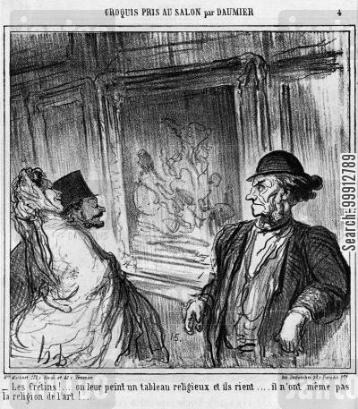 religious subject cartoon humor: Sketches From the Picture Gallery by Daumier - Gallery visitors laughing at a religious painting