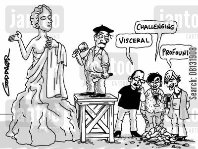 classical art cartoon humor: Sculptor's chippings