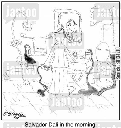 tooth brush cartoon humor: Salvador Dali in the morning.