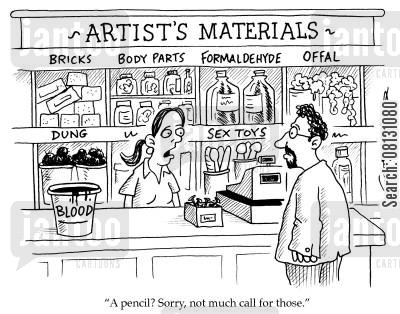 artists materials cartoon humor: A pencil? Sorry, not much call for those.