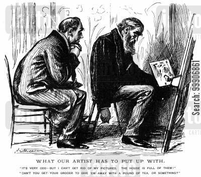 arts cartoon humor: An artist unsure of what to do with his paintings