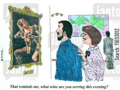 artistic cartoon humor: 'That reminds me, what wine are you serving this evening?'