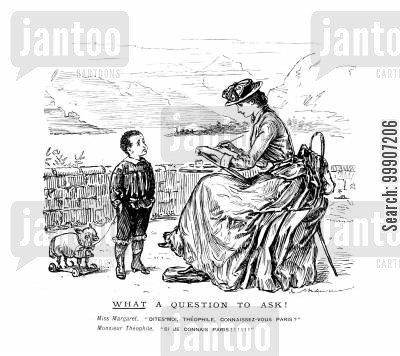 traveller cartoon humor: A lady and a young man discussing Paris