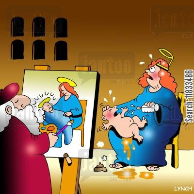 religious painting cartoon humor: Madonna and child - artistic interpretation.