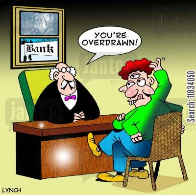 cubists cartoon humor: 'You're overdrawn.'