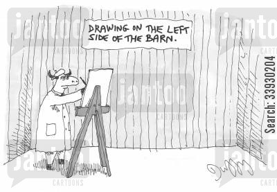 berets cartoon humor: Drawing on the left side of the barn.