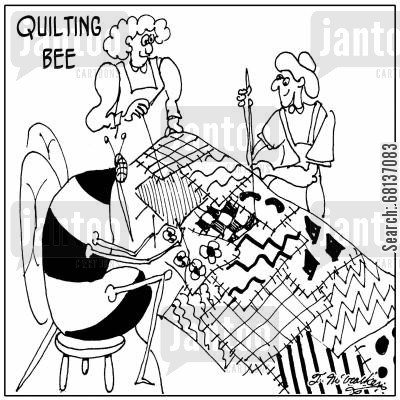 seamstress cartoon humor: Quilting Bee.