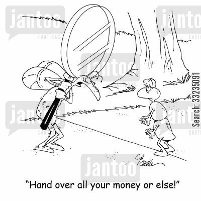 magnifying glass cartoon humor: 'Hand over all your money or else!'