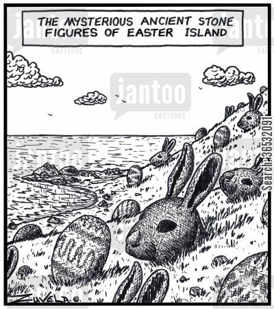 sculpted cartoon humor: The mysterious ancient stone figures of Easter Island