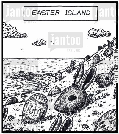 sculpted cartoon humor: Easter Island