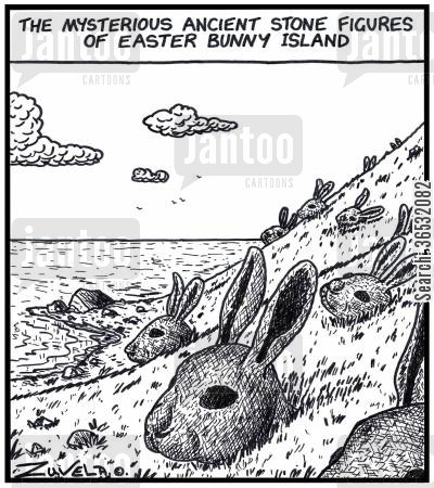 easter bunny cartoon humor: The mysterious ancient stone figures of Easter Bunny Island