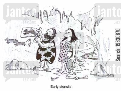 cave art cartoon humor: Early stencils.