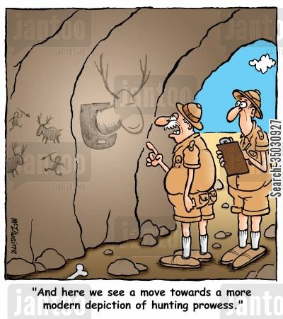 depiction cartoon humor: 'And here we see a move towards a more modern depiction of hunting prowess.'