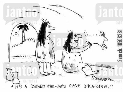 connect-the-dots cartoon humor: 'It's a connect-the-dots cave drawing.'