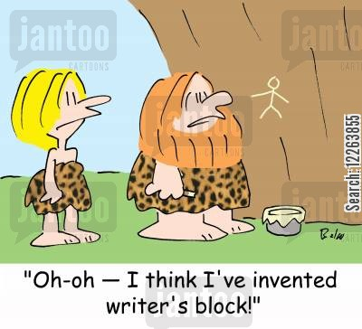manuscripts cartoon humor: 'Oh-oh -- I think I've invented writer's block!'