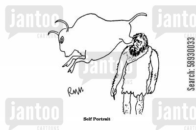 cave paintings cartoon humor: Self Portrait.