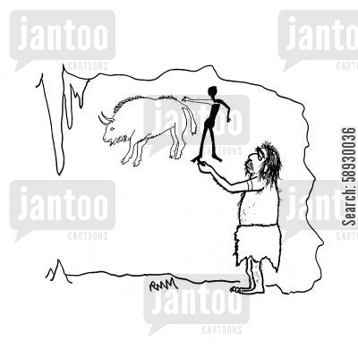 cave paintings cartoon humor: Caveman - petroglyph