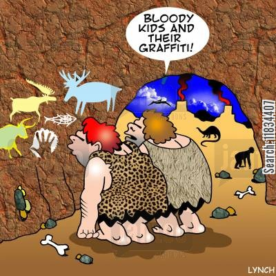 graffiti artists cartoon humor: 'Kids and their bloody graffiti.'