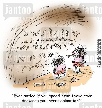 inventings cartoon humor: Ever notice if you speed-read these cave drawings you invent animation?