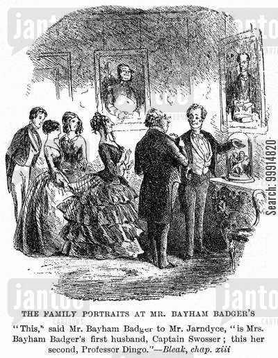 bleak house cartoon humor: Family portraits at Mr. Bayham Badger's