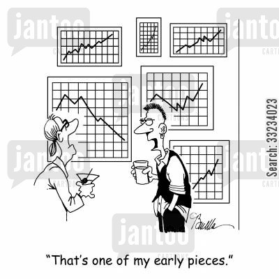 sales chart cartoon humor: 'That's one of my earlier pieces.'