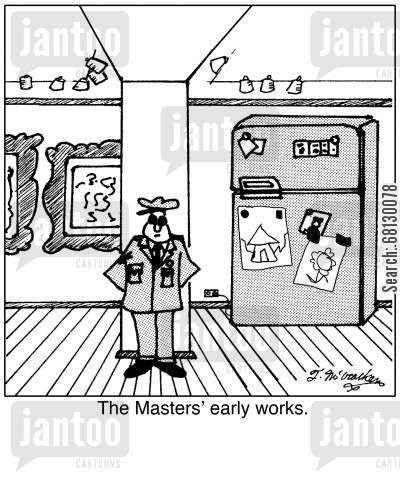finger painting cartoon humor: The Masters' Early Works.