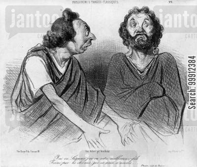 classical theater cartoon humor: Phaedra and Theseus