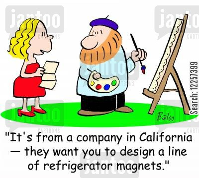 fridge magnet cartoon humor: 'It's from a company in California -- they want you to design a line of refrigerator magnets.'