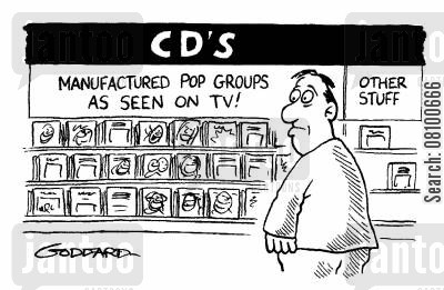 pop groups cartoon humor: 'CD's: Manufactured pop groups as seen on tv!'