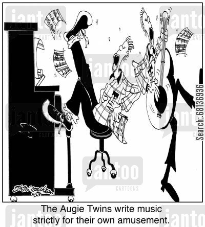 composition cartoon humor: The Augie Twins write music strictly for their own amusement.
